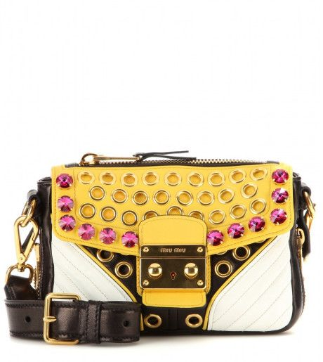 Miu Miu Yellow Embellished Leather Shoulder Bag Leather Shoulder Bag Stylish Handbag Shoulder Bag
