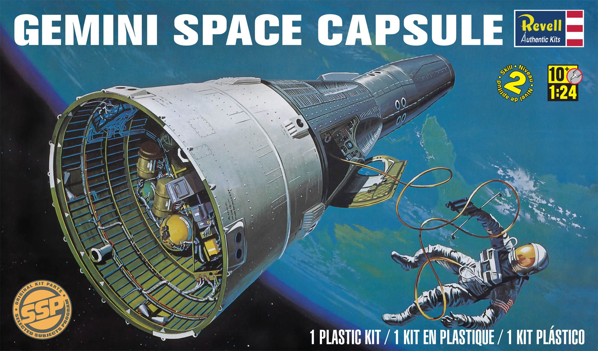 Gemini Space Capsule Plastic Model Kit FROM REVELL. Kit features two seated astronauts, opening ...