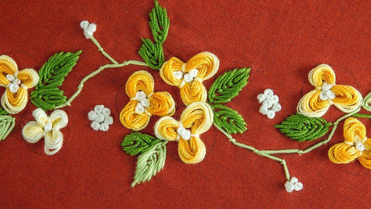 Easy diy flower hand embroidery pattern by handiworks youtube