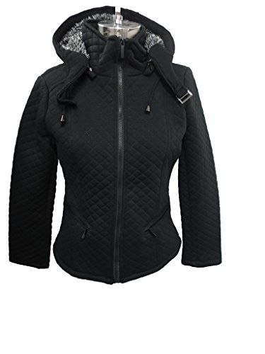 d5da0aef1 YOKI Womens PLUS SIZE Black Quilted Fleece Jacket with Full Sherpa ...