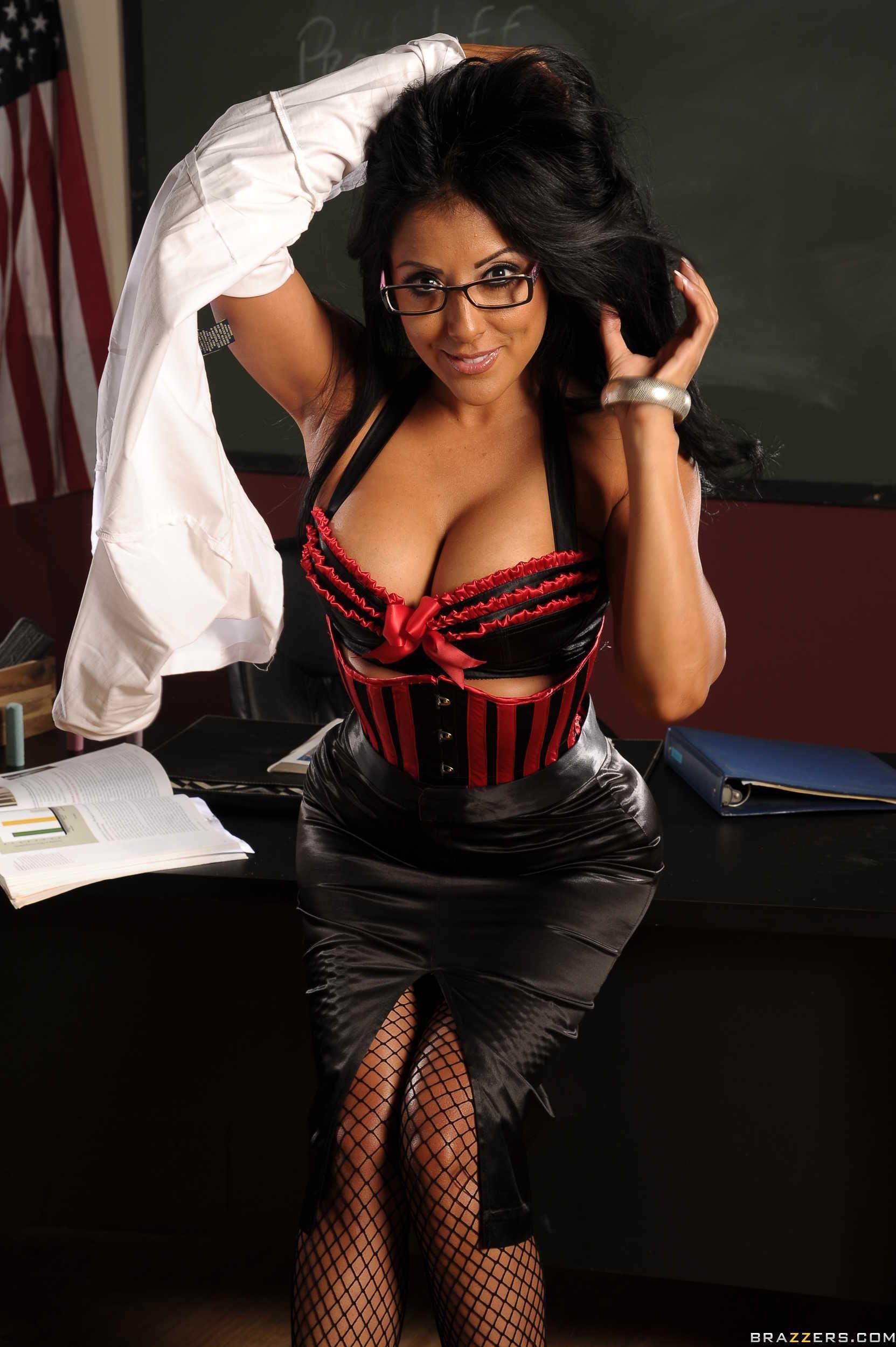 Elegant honey in sexy black stockings teasing herself 7