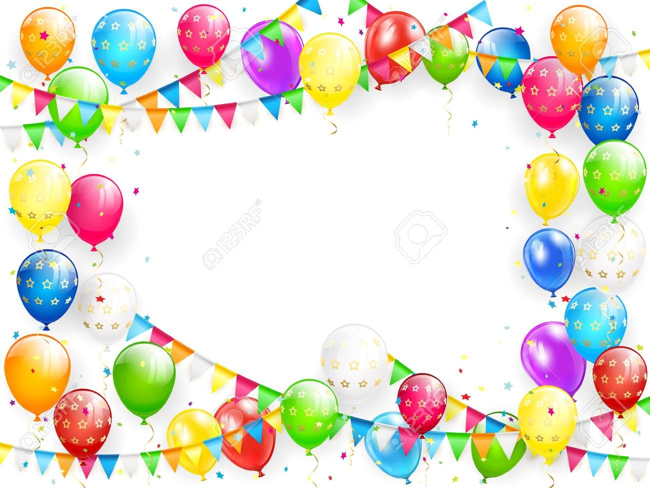 Frame Of Flying Colorful Balloons, Multicolored Pennants And.. Royalty Free Cliparts, Vectors, And Stock Illustration. Image 81167326.