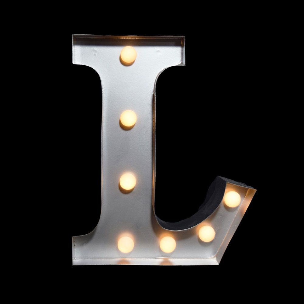 10 Inch Metal Letters White Marquee Light Letter 'l' Led Metal Sign 8 Inch Battery