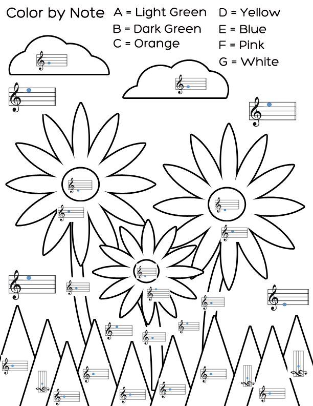 Welcome spring with this color by note flower worksheet