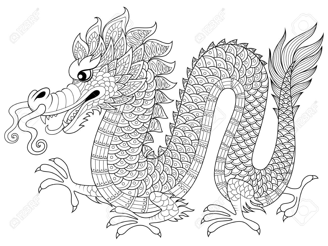 Chinese Dragon In Zentangle Style Adult Antistress Coloring Page Black And White Hand Drawn Doodle For Book