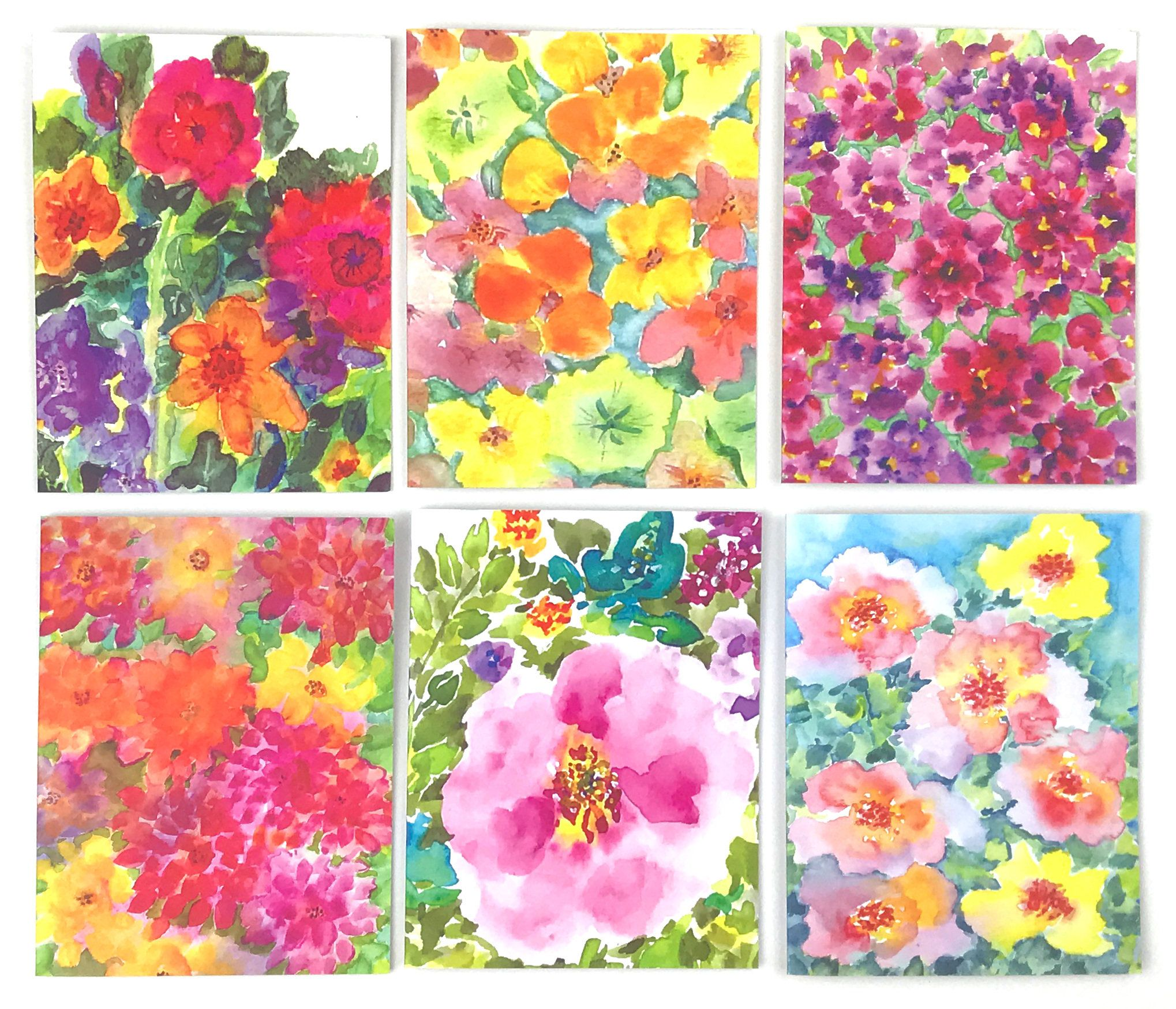 Set Of 6 Greeting Cards Brilliance Note Cards Etsy Floral Note Cards Floral Notes Watercolor Flowers