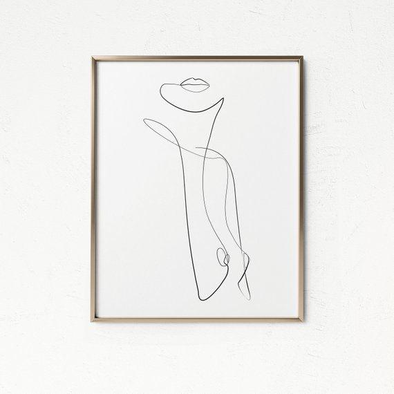 Photo of Abstract Body Art, One Line Drawing, Woman Nude Abstract Wall Art, Printable Modern Decor, Woman Print, Body Figure, Minimal Line Sketch.