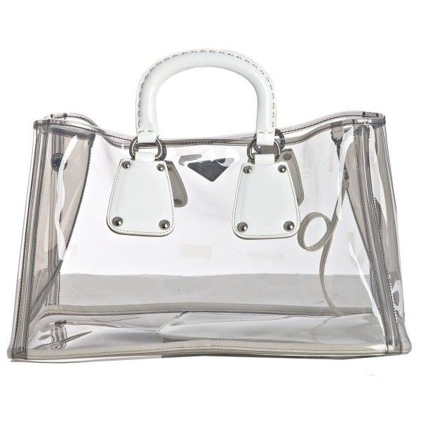 ad0e48223f73 Prada White Transparent Pvc Medium Tote (2.700 BRL) ❤ liked on Polyvore  featuring bags, handbags, tote bags, prada, borse, purses, bolsas, prada  tote bag, ...