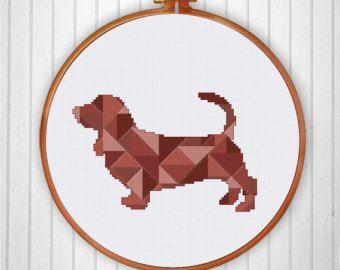 Geometric Moose spring minimalist cross stitch par ThuHaDesign