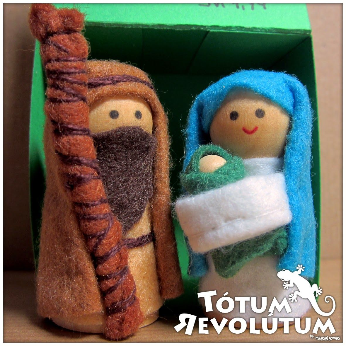 Belén de madera y fieltro... #Nativity #Wood #Felt