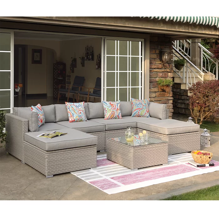 Rhinegeist 7-Piece Outdoor Furniture Warm Gray Wicker Family Sectional Sofa W Thick Cushions, Glass Top Coffee Table, 2 Ottomans, 4 Floral Fantasy Pillow