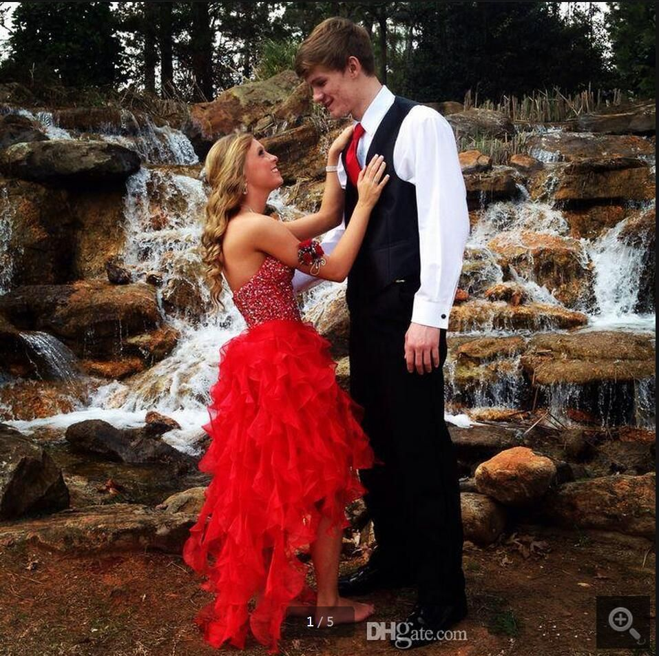 2016 Red Organza Beading Sequins Formal Prom Dress Strapless Ruffled