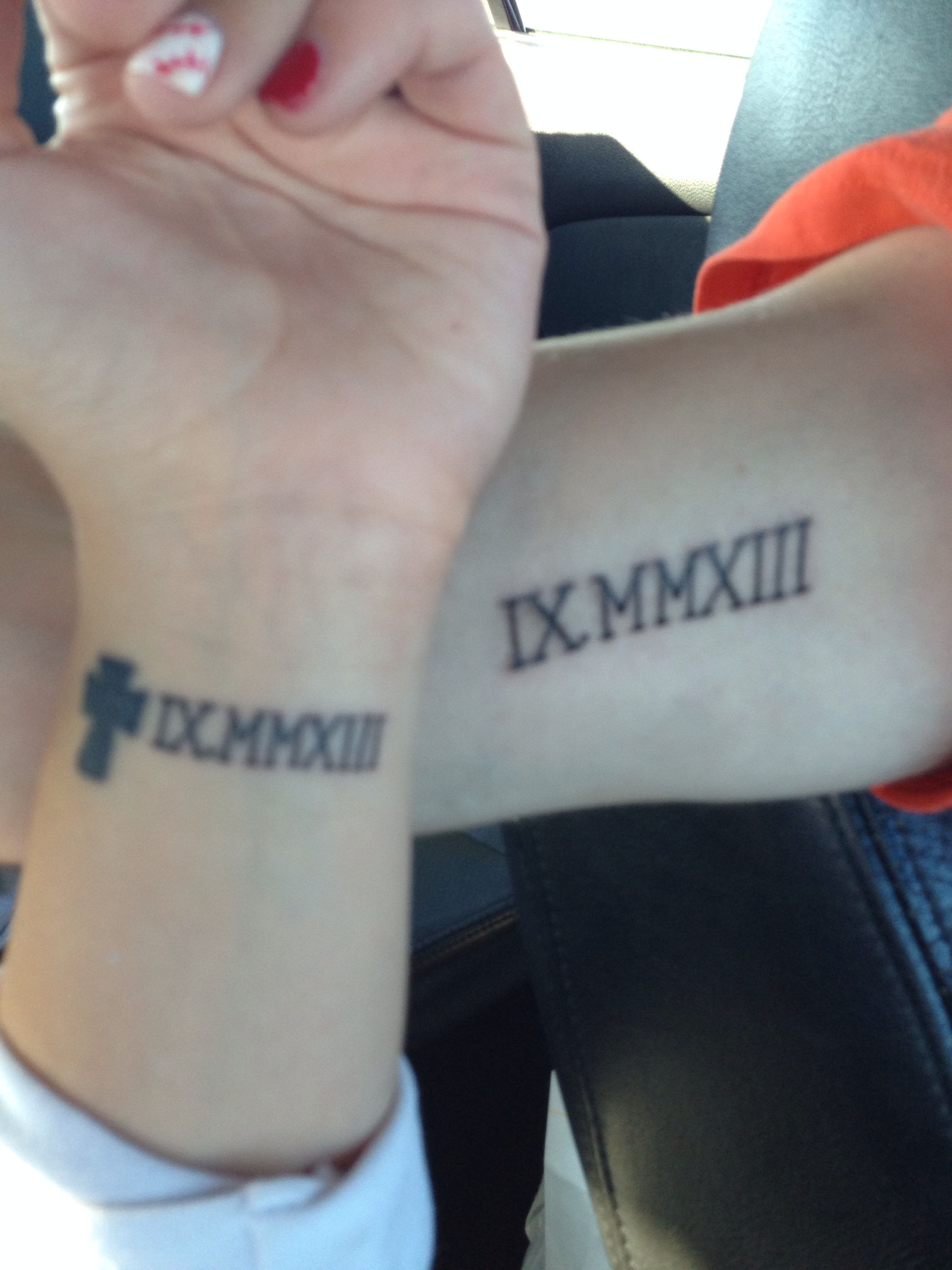 Matching Roman Numeral Tattoo My Husband And I Got Our