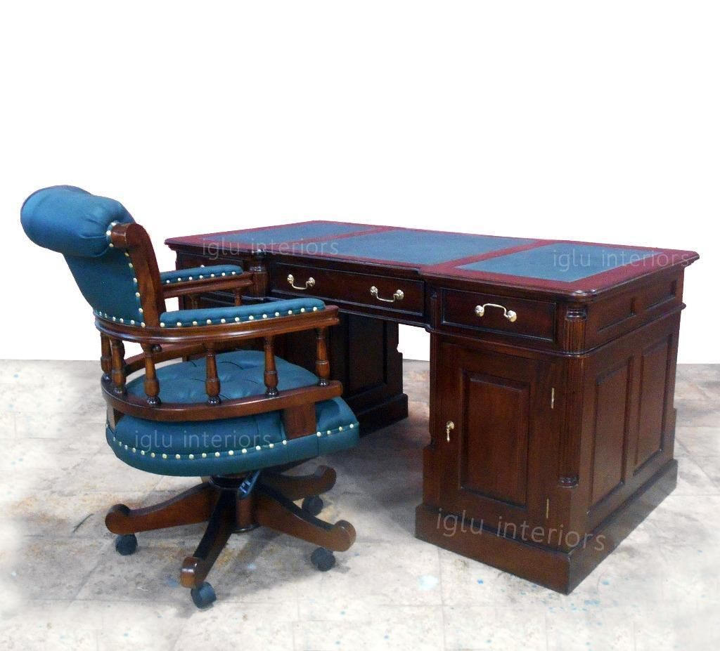 Desk Chair Gumtree Headrest For Barber Large Antique Chesterfield Handmade Walnut Partner