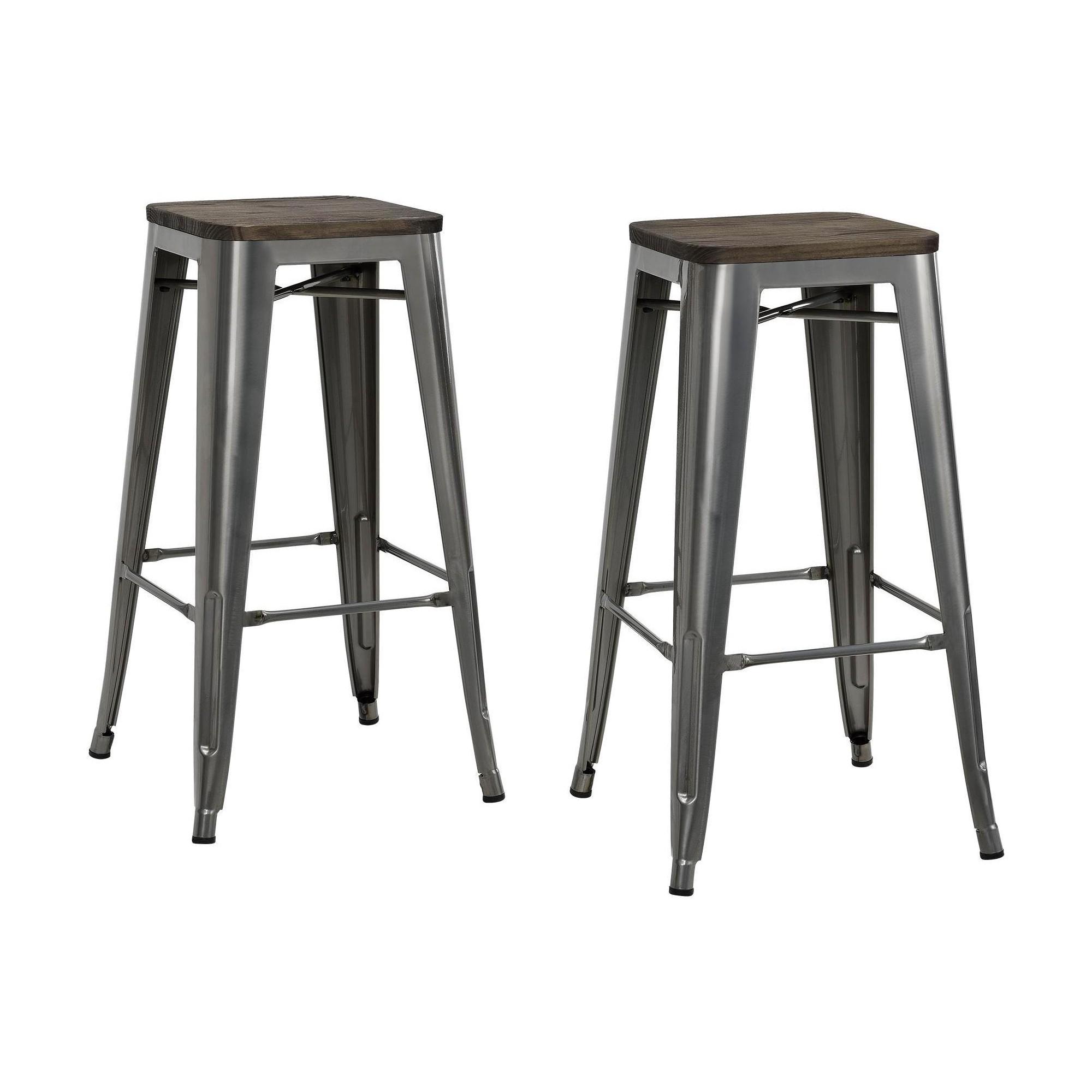 Awe Inspiring 30 Fusion Metal Backless Bar Stool With Wood Seat Set Of 2 Frankydiablos Diy Chair Ideas Frankydiabloscom