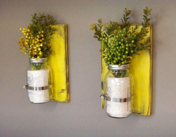 32 oz Mason Jars, Set of 2 Sconces, Wooden Wall Sconces, Yellow ...