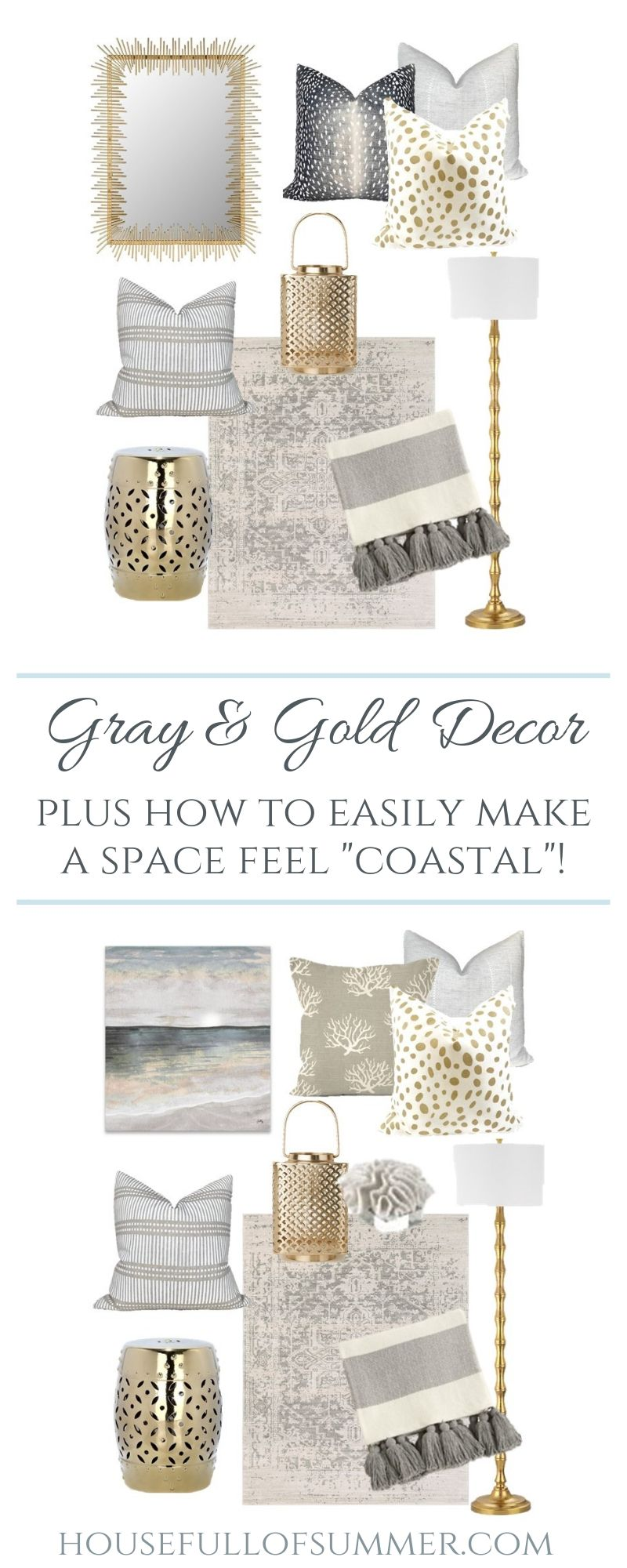 """Photo of Mood Board : Gray & Gold Decor Plus How to Easily Make a Space Feel """"Coastal"""" — House Full of Summer – Coastal Home & Lifestyle"""
