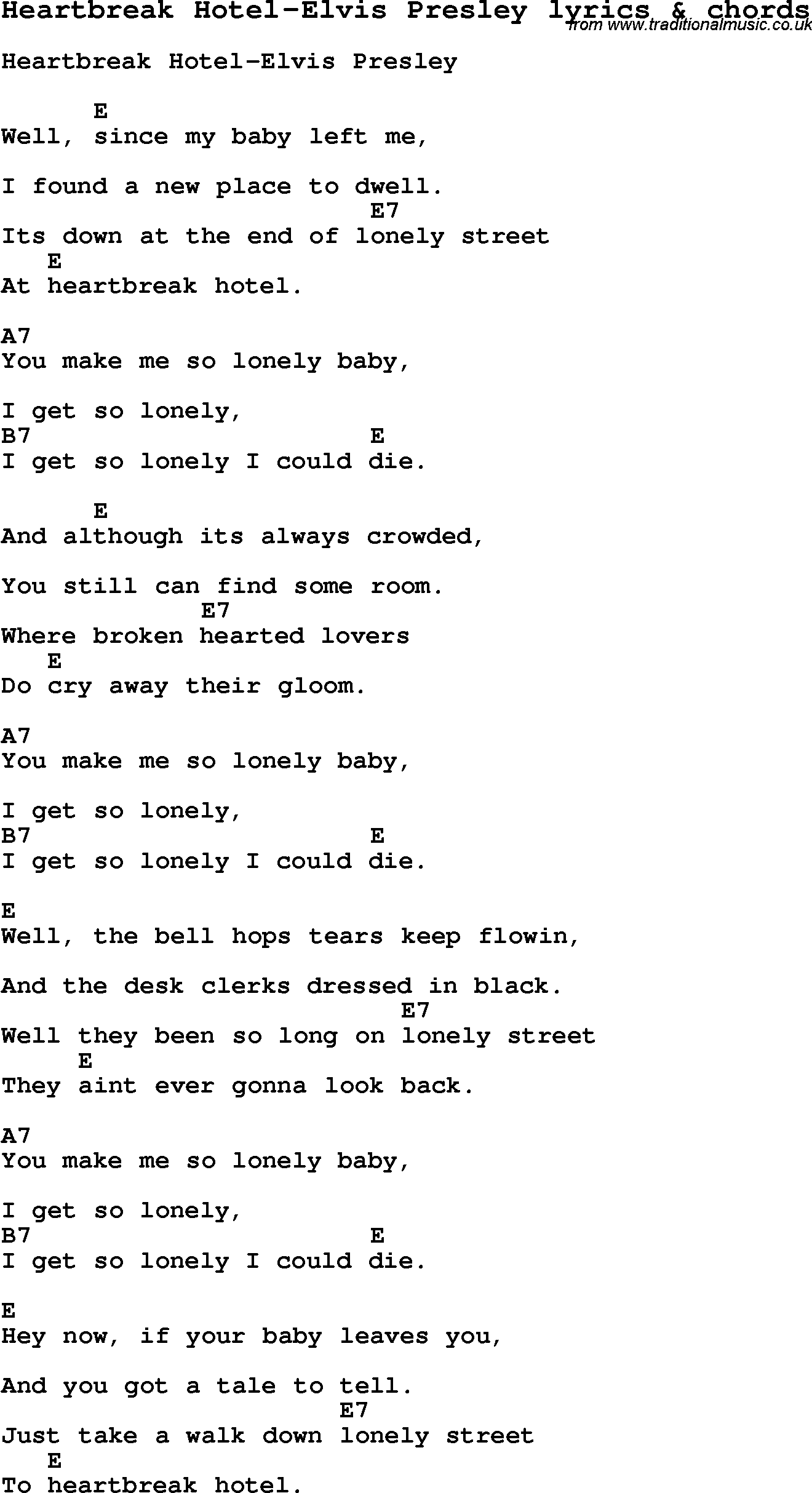 Love Lyrics For Heartbreak Hotel Elvis Presley With Chords For