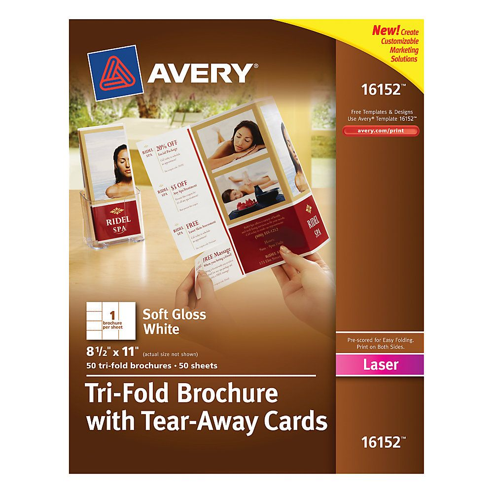 AveryR Tri Fold Brochures With Tear Away Cards 4 Per Sheet