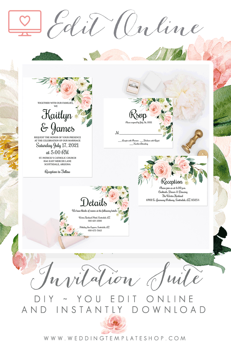 Diy Wedding 4 Templates Instantly Edit Online In Your Browser Window Download And Pr Wedding Invitations Online Wedding Invitation Suite Wedding Invitations