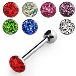 Tongue barbell with ferido crystals