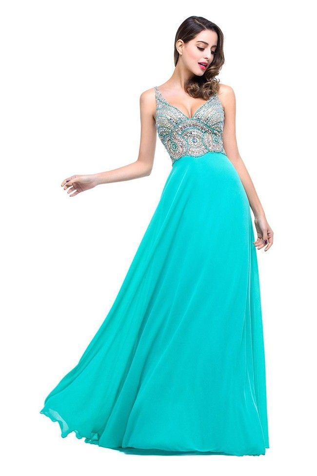 e2c64f494825 Sexy V Neck Open Back Long Turquoise Chiffon Beaded Prom Dress in ...