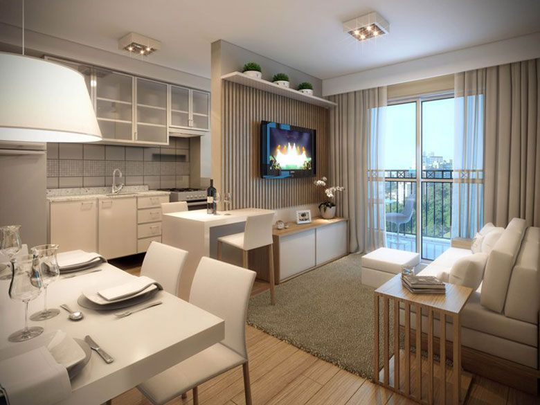 Sala e cozinha integradas sala pinterest perspectiva for Decorando departamentos pequenos
