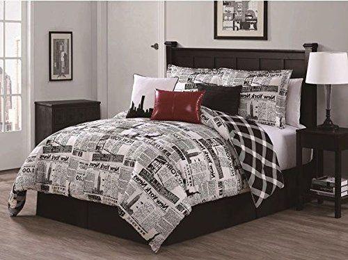 7 Piece Queen Comforter Set Amazing Newspaper Design All