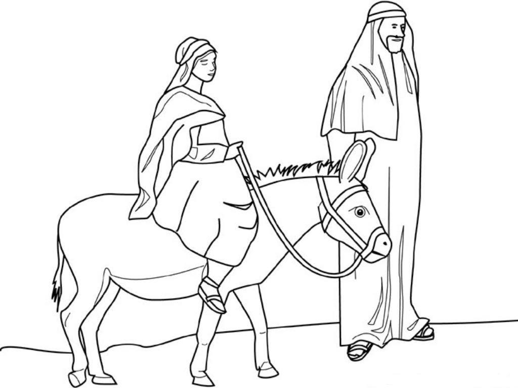 Mary And Joseph Travelling By Donkey To Bethlehem Coloring Page