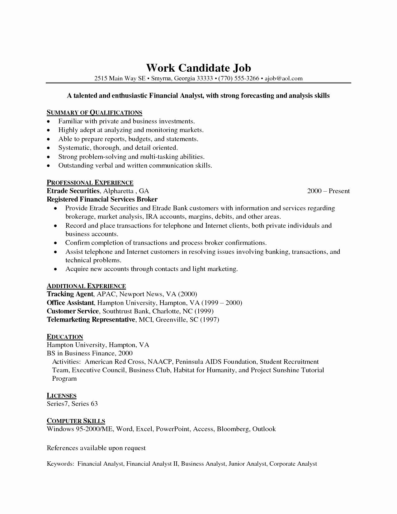 Entry Level Data Analyst Resume Awesome Entry Level
