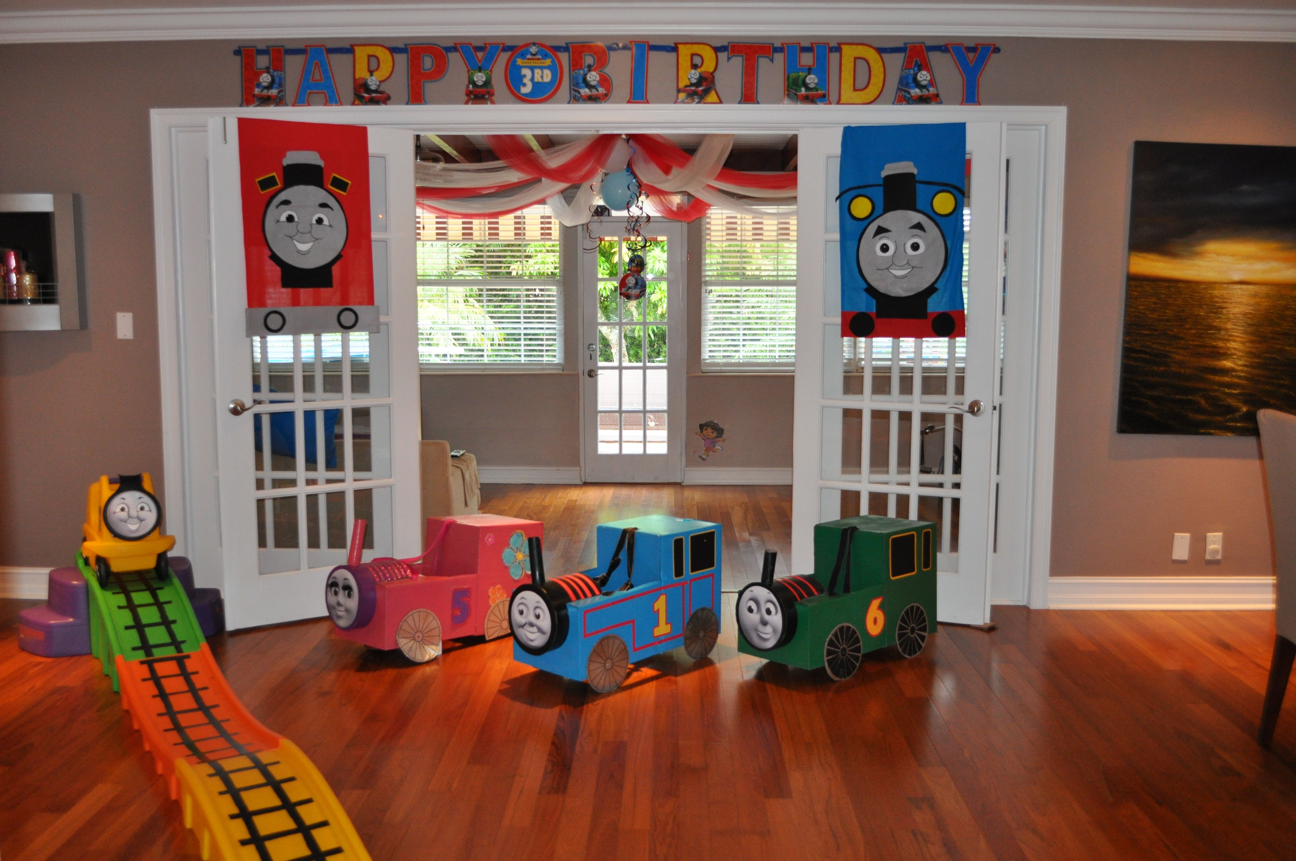 Thomas The Train Party Trains Made Out Of Cardboard Boxes