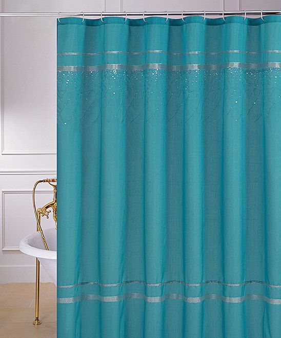 Turquoise Sequin Glen Shower Curtain