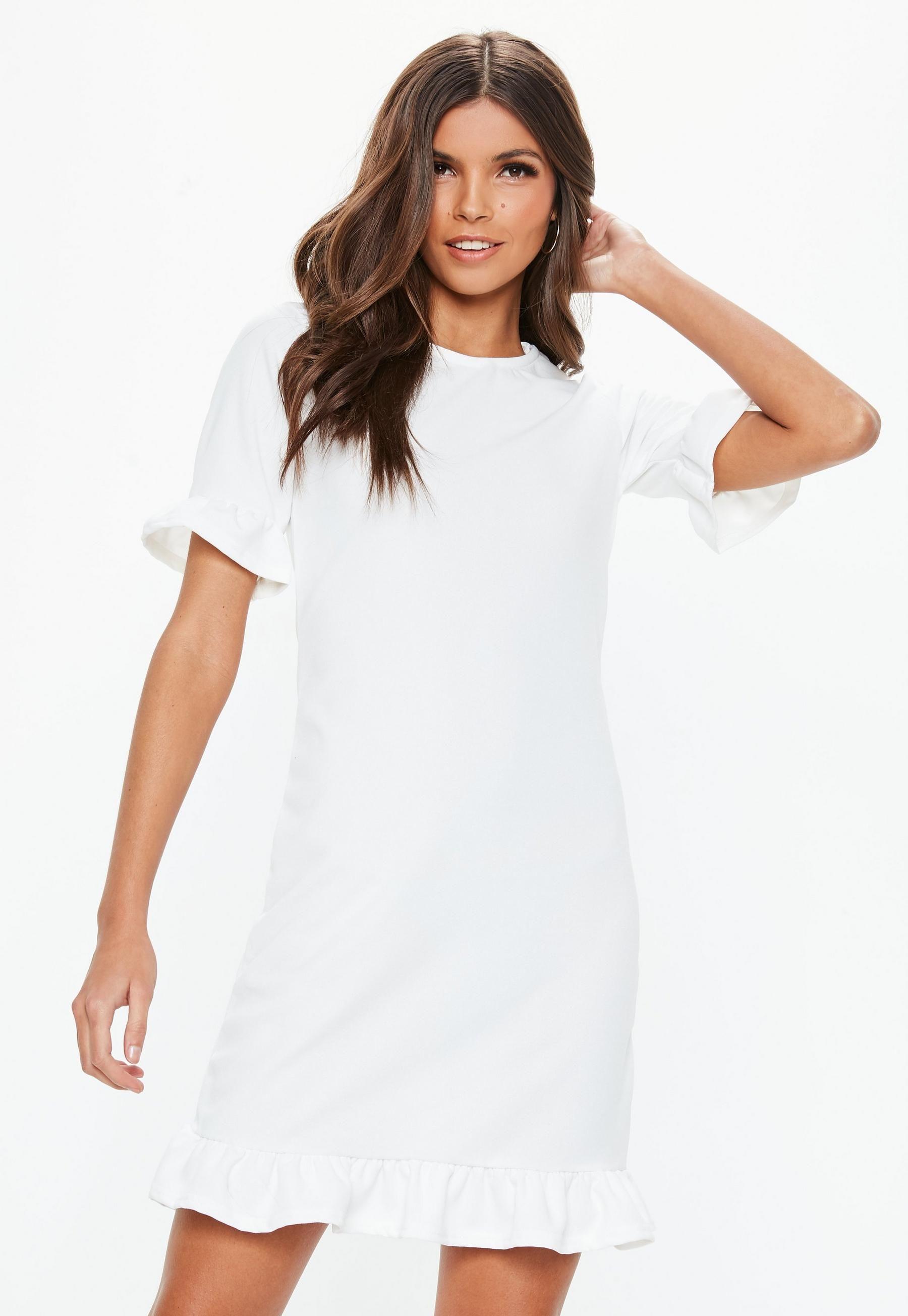 White Frill Detail Short Sleeve Shift Dress Missguided Short Sleeve Shift Dress Women Dress Online Trending Dresses [ 2608 x 1800 Pixel ]