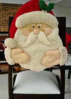 Gata Bacana: Molde Capas de Cadeira para o Natal, Papai Noel, Mamae Noel…