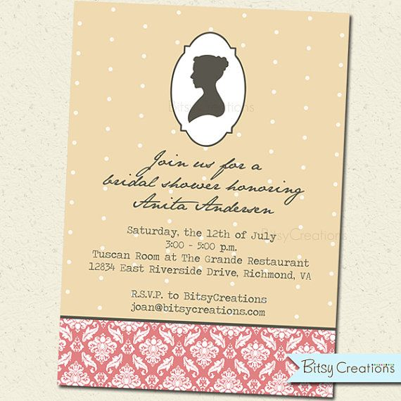 Jane Austen Theme Party Invitation Printable Digital Shower - free printable wedding shower invitations templates