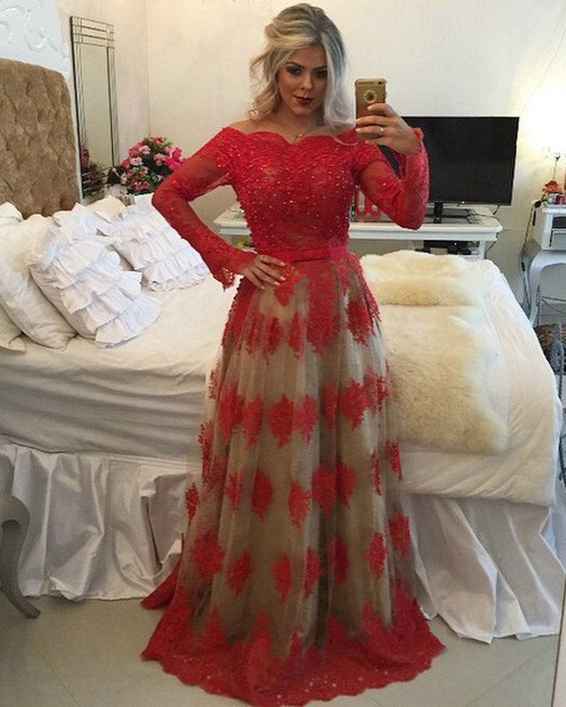 Sexy Off Shoulder Red Lace Long Sleeve Prom Dresses 2016 See Through Back  Arabic Evening Party Gown vestido de festa 3071c7e8a