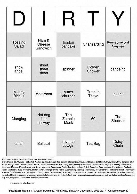 DIRTY BINGO Bingo Cards to Download, Print and Cus