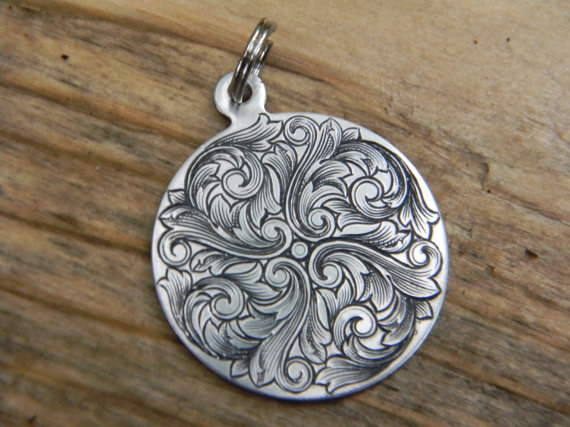 Hand engraved scroll design nickel silver pendant scroll design hand engraved scroll design nickel silver pendant mozeypictures Image collections