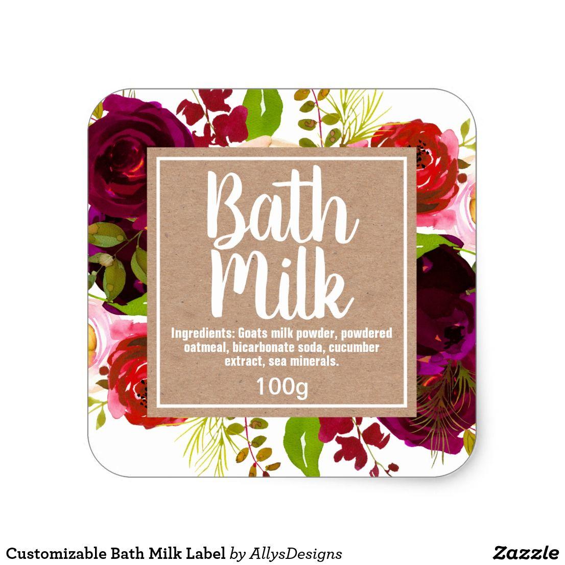 Customizable Bath Milk Label