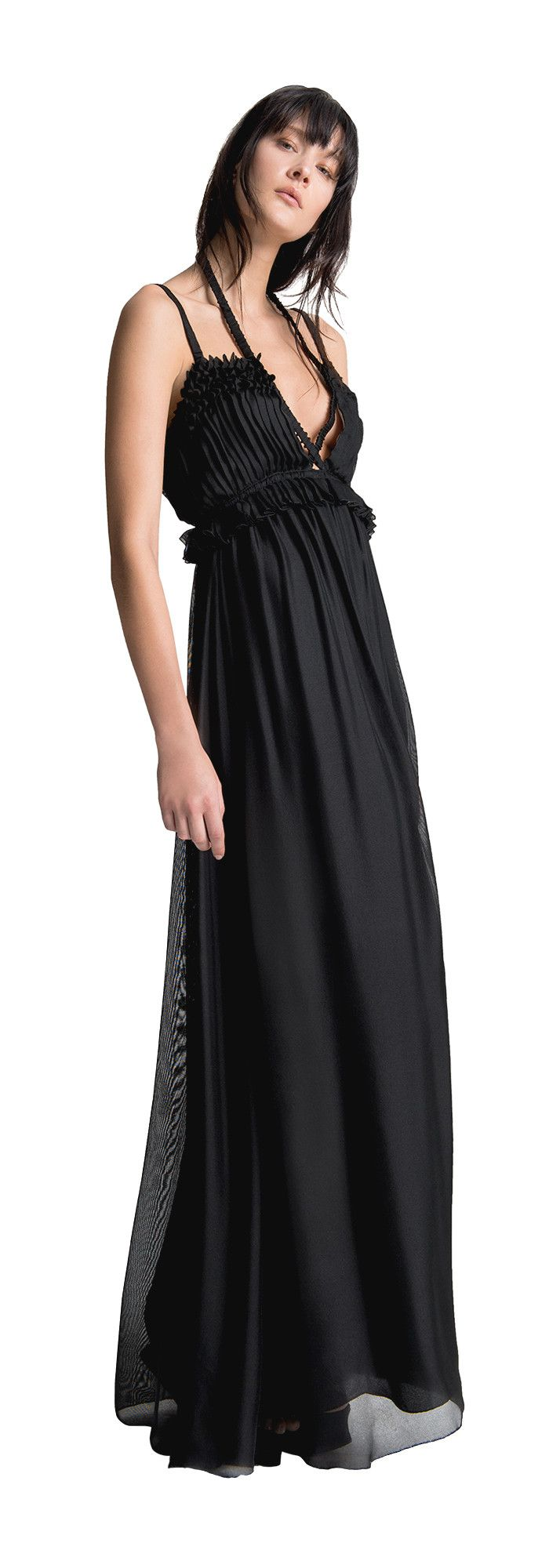 Silk mesh long dress the shirred pleating the ruffles the