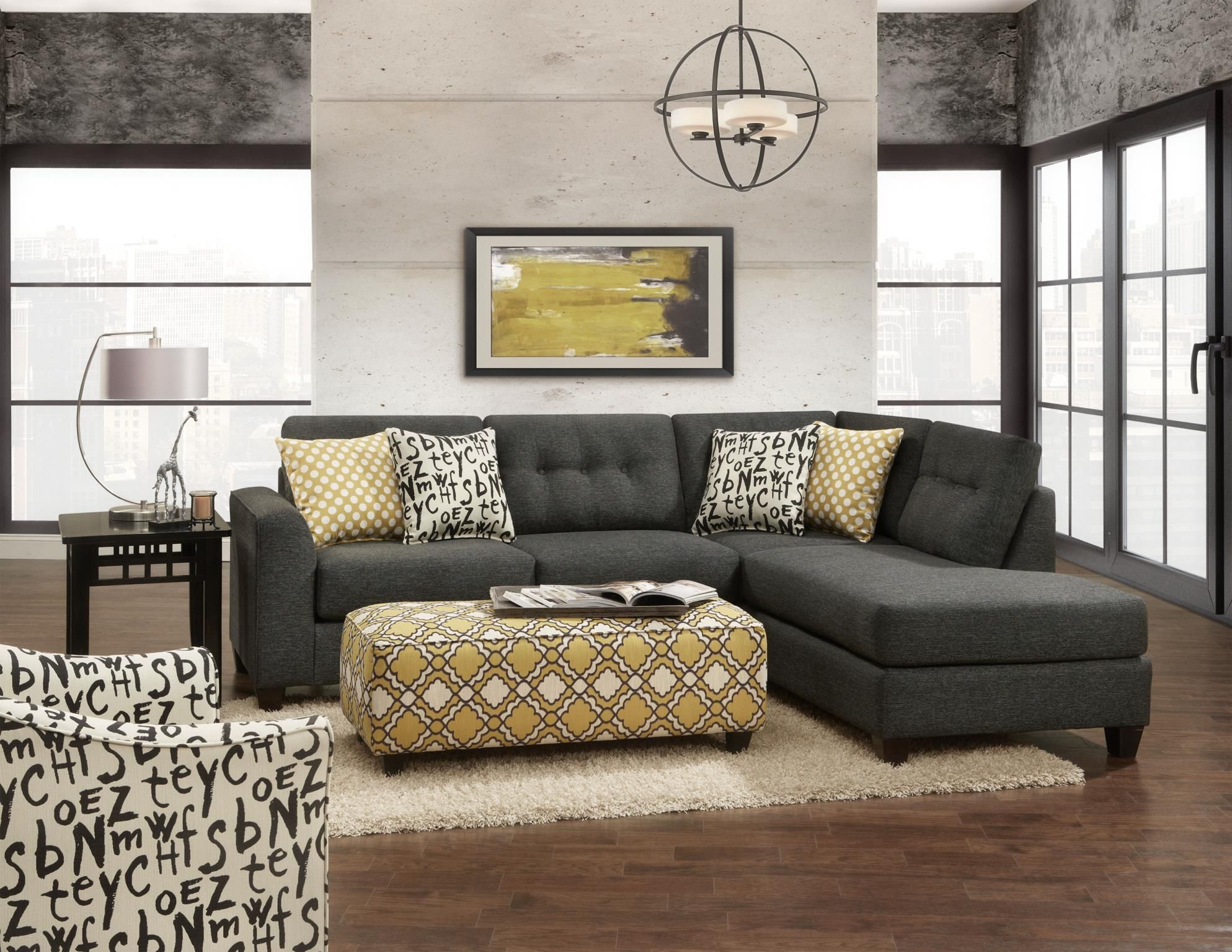 1515 1516 Max Ebony Sectional by Fusion Sofas