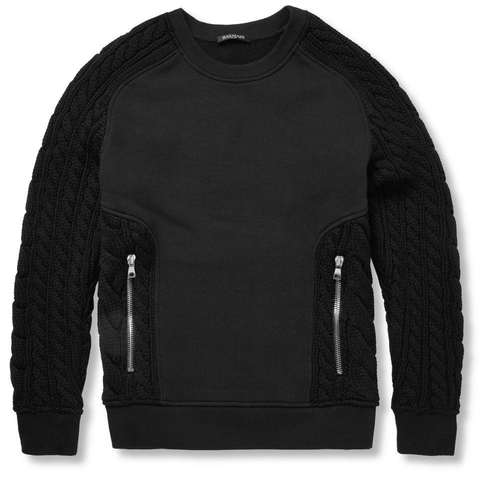 d77e32e8f7 Balmain - Cotton and Merino Wool-Blend Panelled Sweater | MR PORTER ...