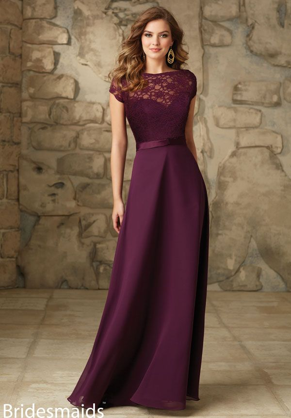 f154c092d0 Elegant floor length A line plum lace and chiffon long bridesmaid dress.  Sweetheart chiffon dress with cap sleeves removable lace jacket. Open back.