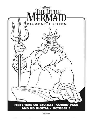 Little Mermaid King Triton Coloring Page Mermaid Coloring