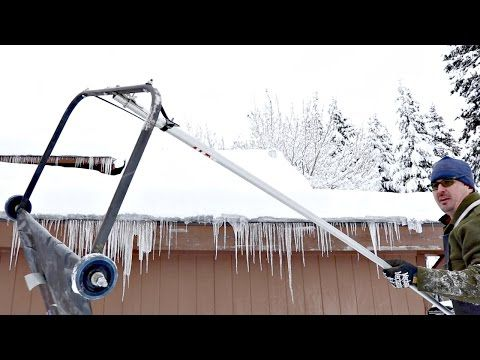 Amazing Hack Removes Snow From Roof Youtube He Used A Bracket From An Old Push Broom Published Jan 11 2017 Snow Removal Snow Rake Snow Cleaning