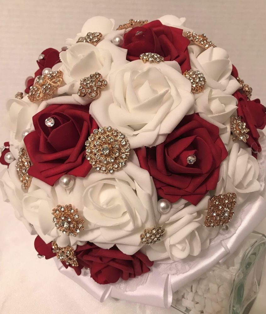 BROOCH BOUQUET & BOUTONNIERE SET, Quinceanera Bouquet, Red