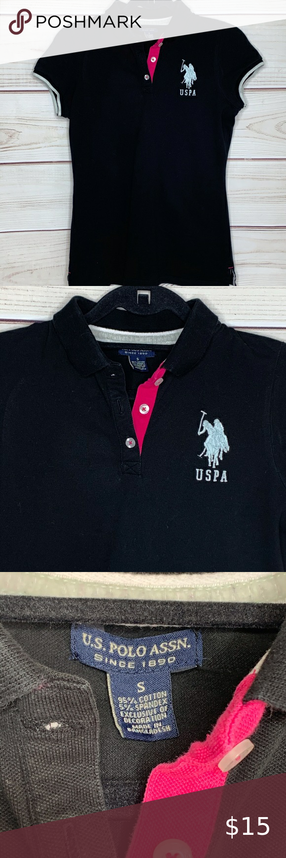 U S Polo Assn Black And Hot Pink Women S Polo Top U S Polo Assn Black And Hot Pink Women S Polo Top Size Small White Embroi Womens Polo Tops Hot Pink Women