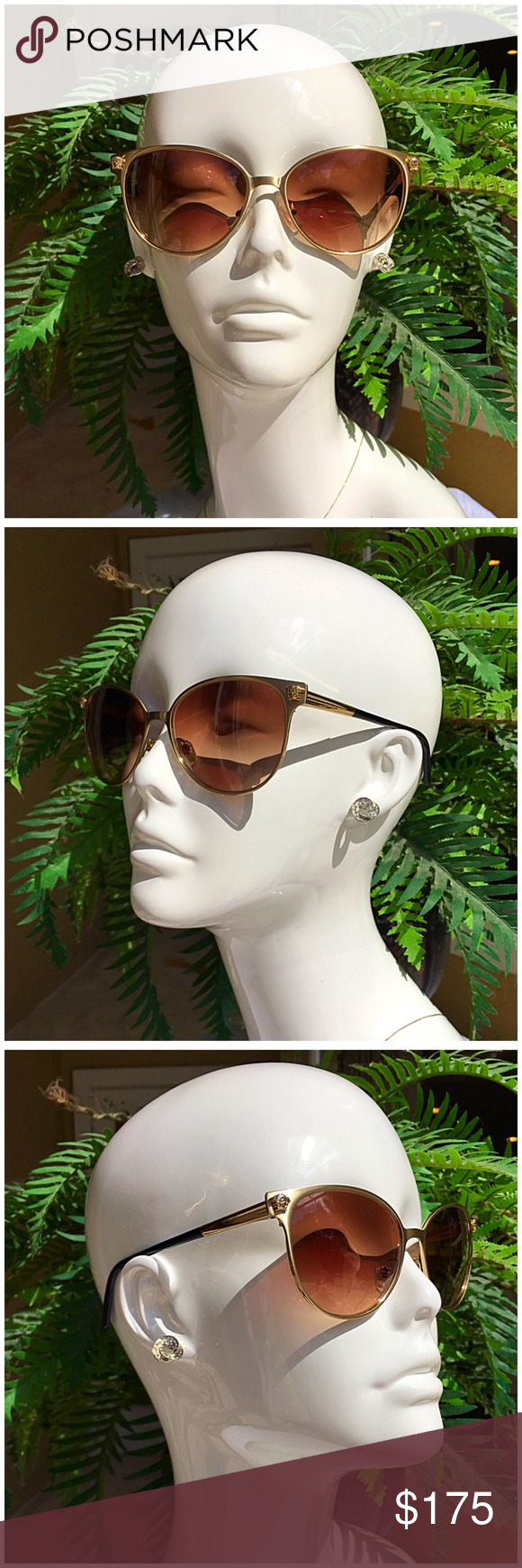 57f33b305003 Versace Sunglasses VERSACE MOD. 2168 cat eye shaped sunglasses. Brushed  gold metal frame with