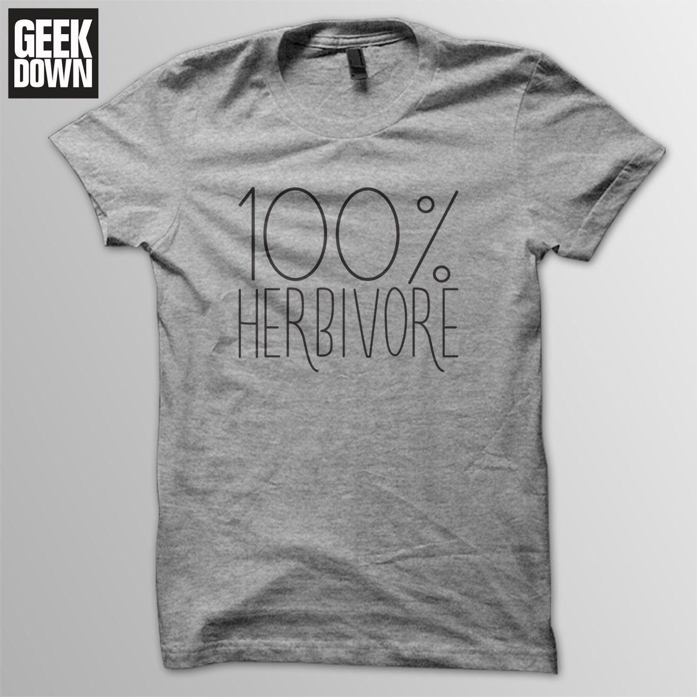 eace6c86b9 Vegan T-shirt 100% Herbivore tee // funny vegan shirt / vegan gift ...