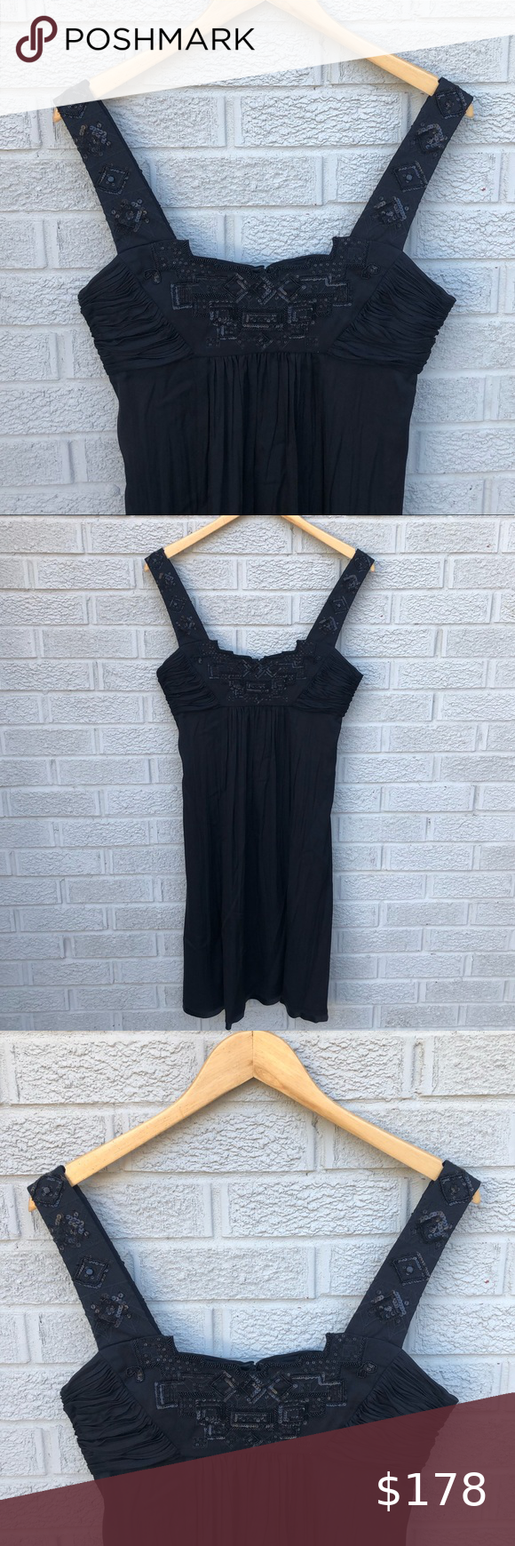 Elie Tahari Tara Beaded Sequin Silk Black Dress Black Silk Dress Elie Tahari Dresses Black Dress [ 1740 x 580 Pixel ]